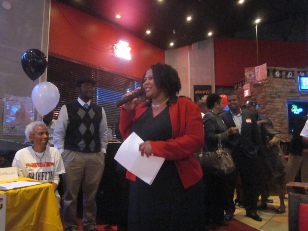 Del. Melony Griffith addresses crowd at her kickoff event.