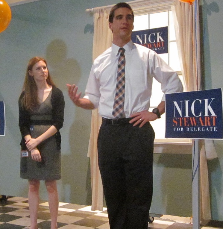 Nick Stewart with wife Katie, who were celebrating their anniversary at his announcement.