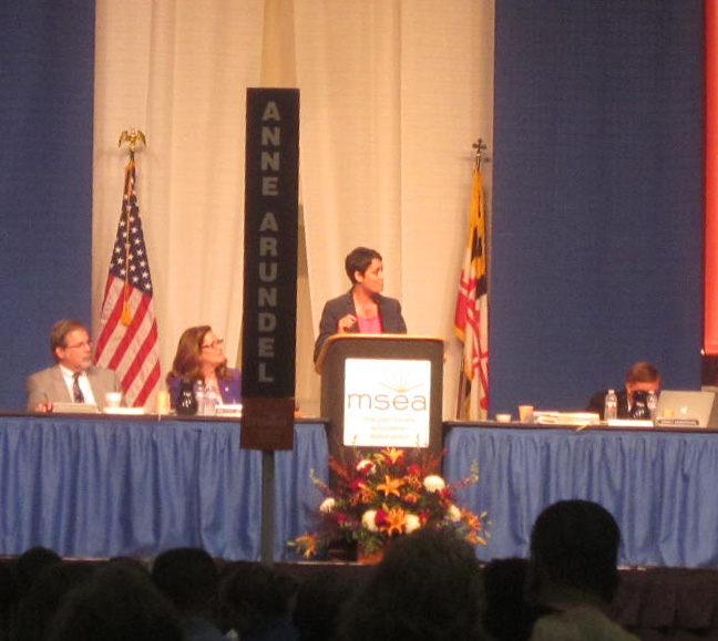 Del. Heather Mizeur addresses Maryland State Education Association convention.