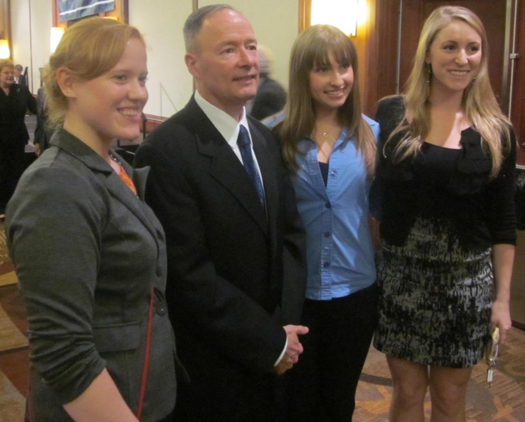 Gen. Keith Alexander posed with international studies majors from Towson University. From left: senior Melissa Stoker; junior Cassandra Harris, with a minor in Arabic; junior Lauren Parrinello, also ROTC. Stoker holds the Catherine Curran O'Malley scholarship in international studies, named in honor of Maryland's first lady who graduated from Towson with that major.