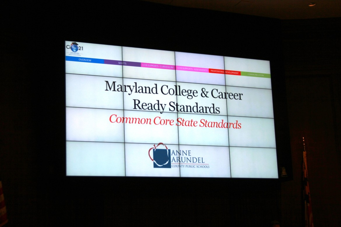 Anne Arundel Public Schools gave a presentation on Common Core to legislators Tuesday night.