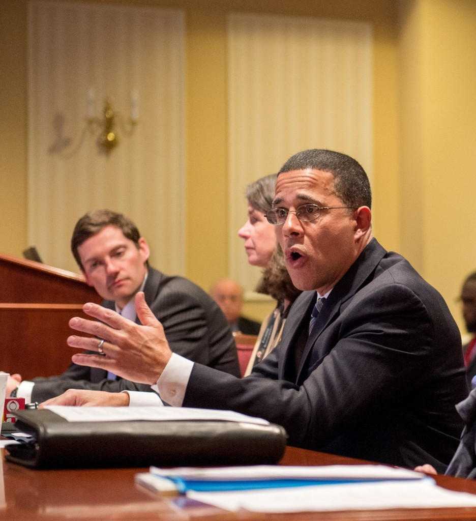 Lt. Gov. Anthony Brown testifies at Senate committee last week.