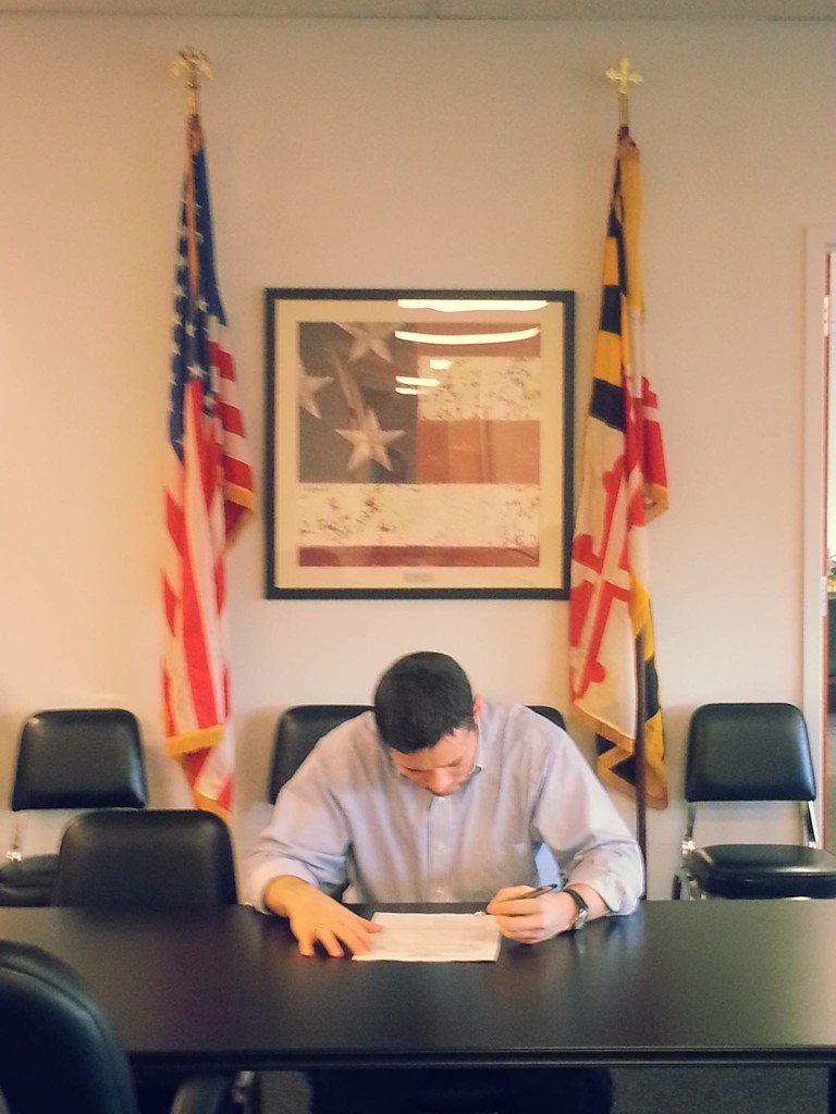 Christian Miele, a Republican, files his candidacy for delegate in District 8.
