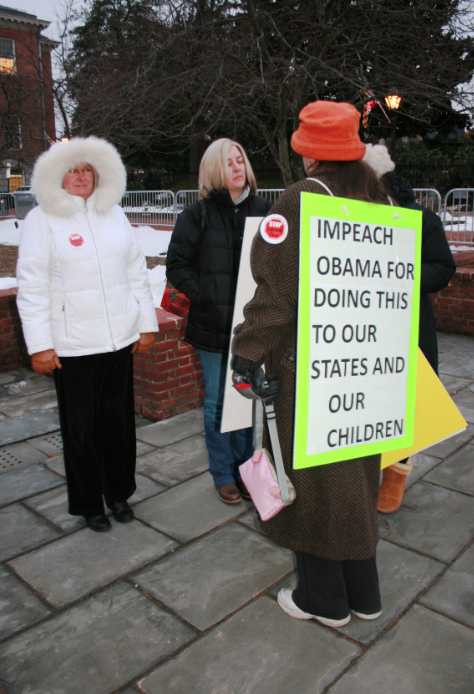 Kathy Butler, a Baltimore County parent, protests at the Parental Awareness of Common Core rally in Annapolis.