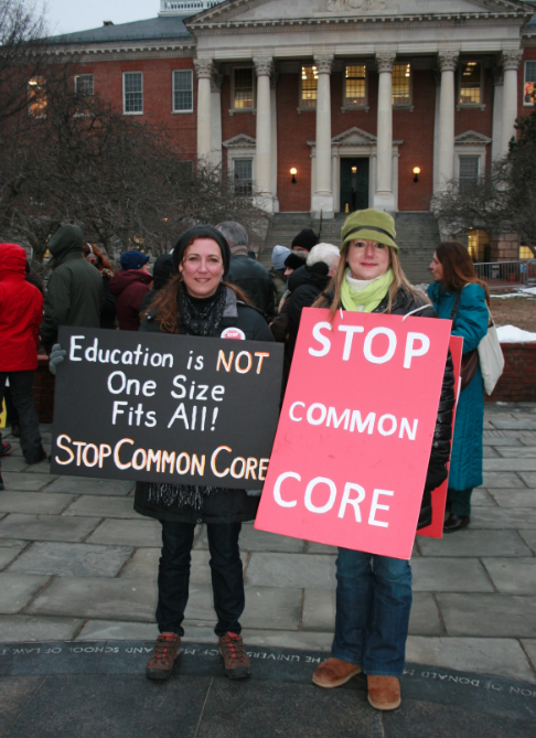 Kimberlee Shaw and Kelly Thompson, members of Parental Awareness for Common Core, protest at Lawyer's Mall in Annapolis.