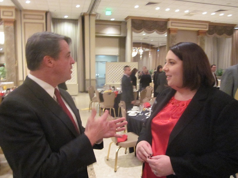 Attorney General Doug Gansler talks to Progressive Maryland director Kate Planco Waybright, trying to make the case he's most progressive Democrat running for governor.