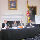 At Wednesday's budget rollout, from right, Gov. Martin O'Malley, Lt. Gov. Anthony Brown, Budget Secretary Eloise Foster, Chief of Staff John Griffin.