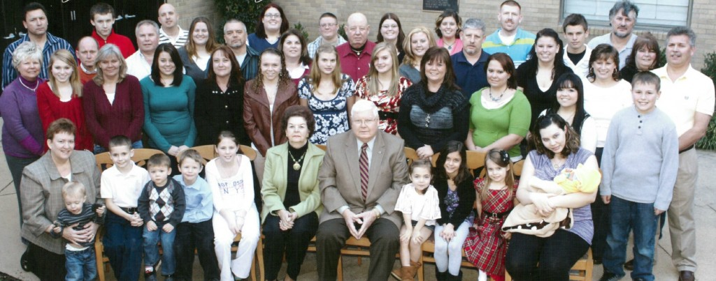 Del. Johnny Wood and his wife Barbara Ann, front center, with many of their 9 children, 26 grand children and 21 great grand children in a photo that ran last year in the magazine of MedStar St. Mary's Hospital where most were born.