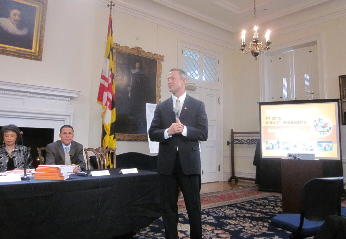 Gov. Martin O'Malley was smiling as he presented the last of his eight budgets, with Budget Secretary Eloise Foster and Lt. Gov. Anthony Brown.