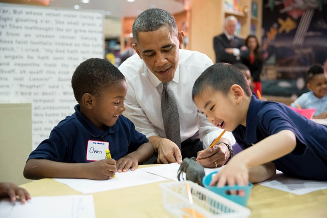 Obama at Moravia Elementary School in Baltimore
