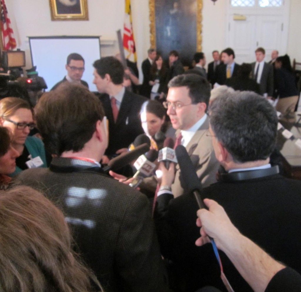 Health Secretary Joshua Sharfstein answers reporters questions.