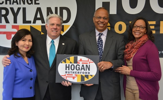 Larry Hogan celebrating filing his candidacy.