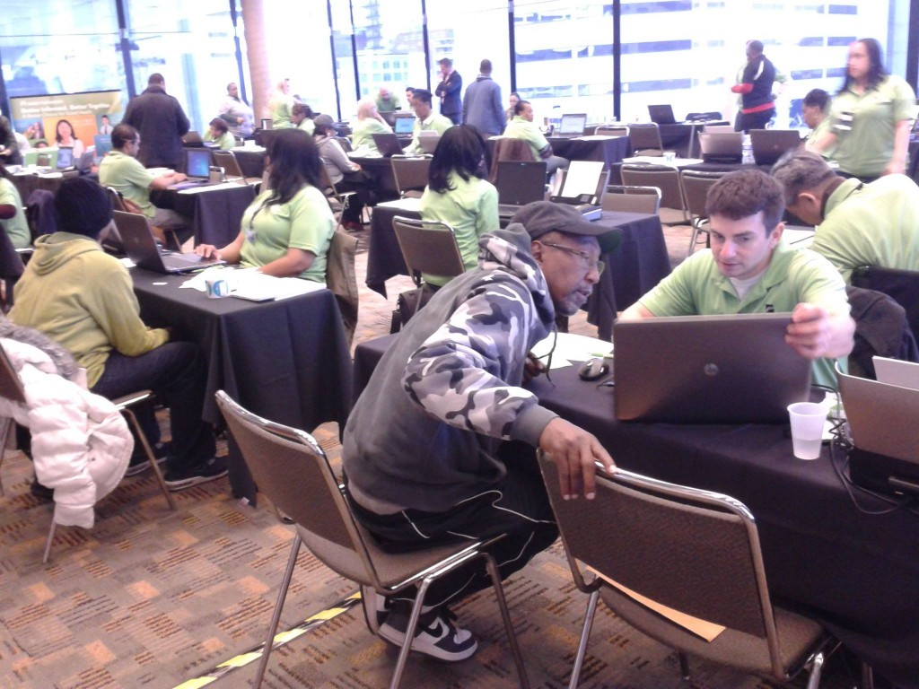 From Maryland Health Connection Facebook page: Signing up people for health insurance on Saturday at the Baltimore Convention Center.