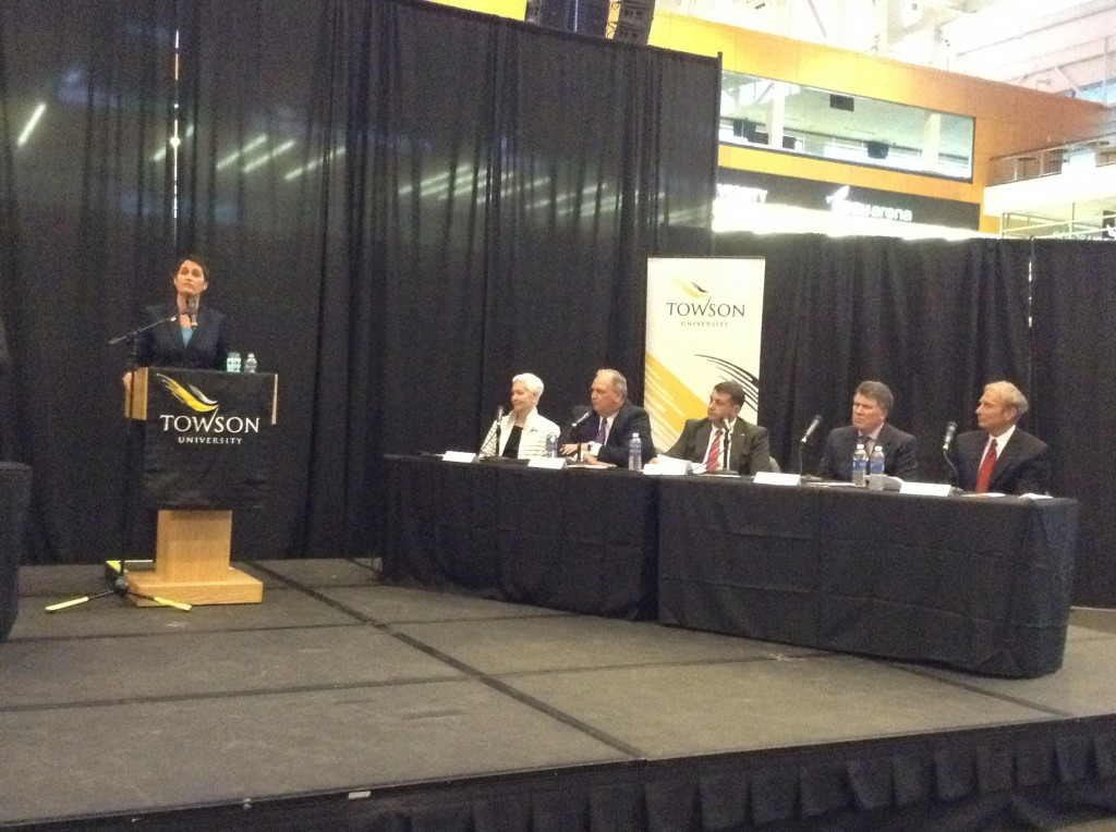 Del. Heather Mizeur speaks at Towson University debate sponsored by the Baltimore Economic Forum.
