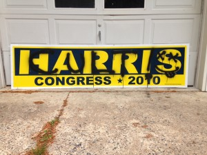 Vandalized Andy Harris sign in 2010