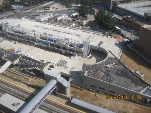 View of Silver Spring Transit Center from above, with walkway to Metro station at bottom left.