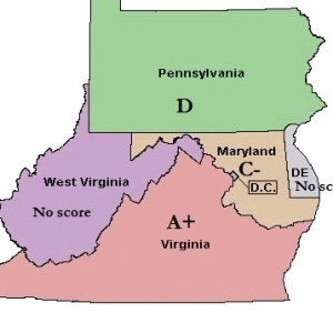 Map Maryalnd Virginia Pennsylvania with scores