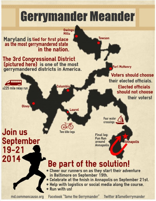 running for redistricting reform 225 mile gerrymander meander