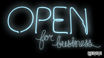 Open for business sign by opensourceway on flickr