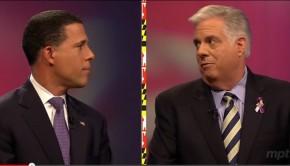 Brown Hogan face each other debate 3