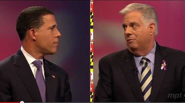 Brown Hogan face each other debate 3