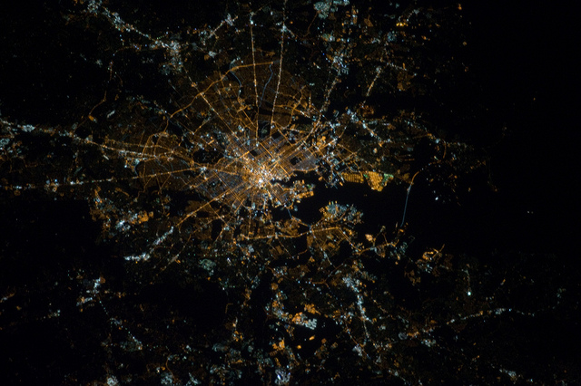 Baltimore at night taken from the international space station