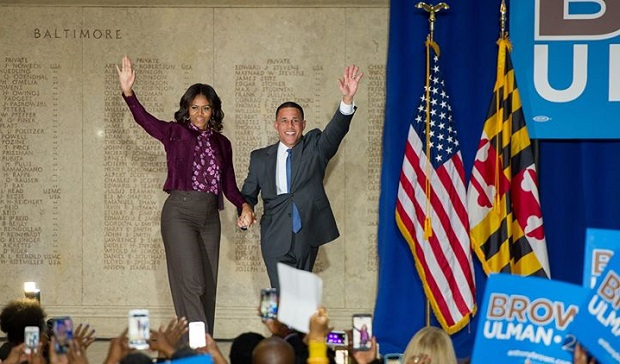 First Lady Michelle Obama rallies voters for Brown in Baltimore
