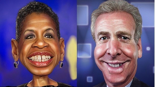 Donna Edwards and Chris Van Hollen. Caricatures by DonkeyHotey with Flickr Creative Commons License.