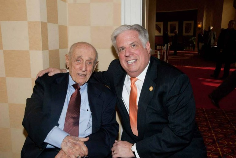 Former Gov. Marvin Mandel at his 95th birthday celebration in Mary with Gov. Larry Hogan.