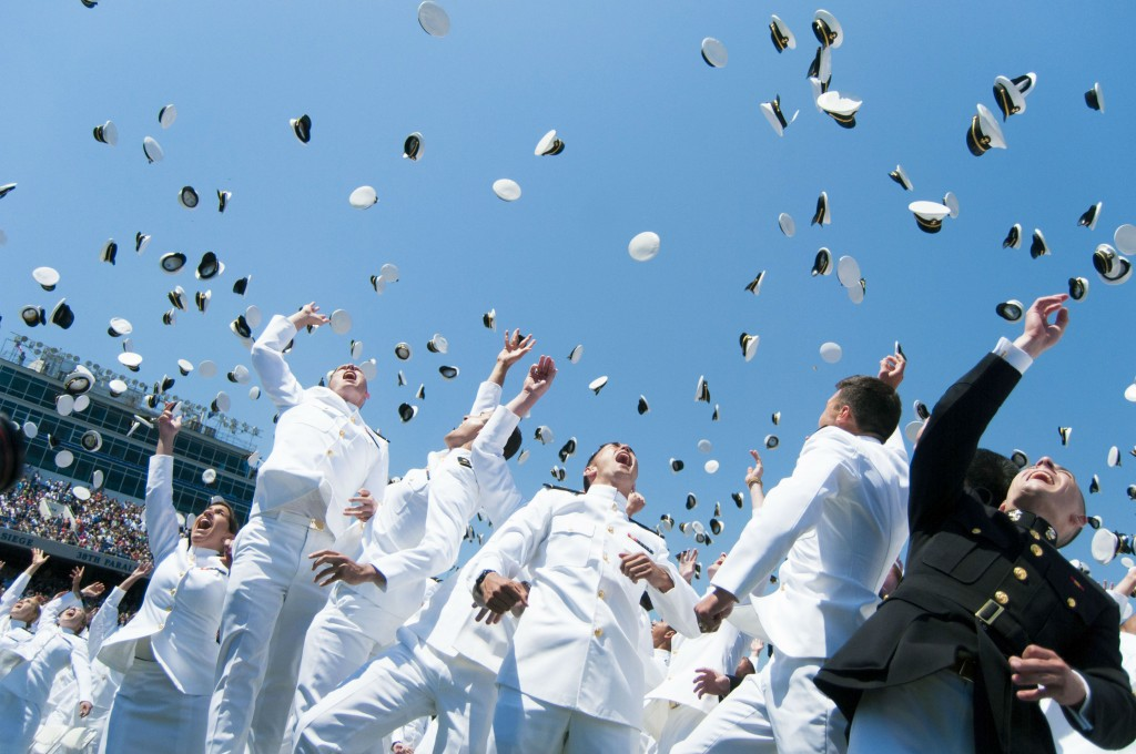 Naval Academy Hats in air