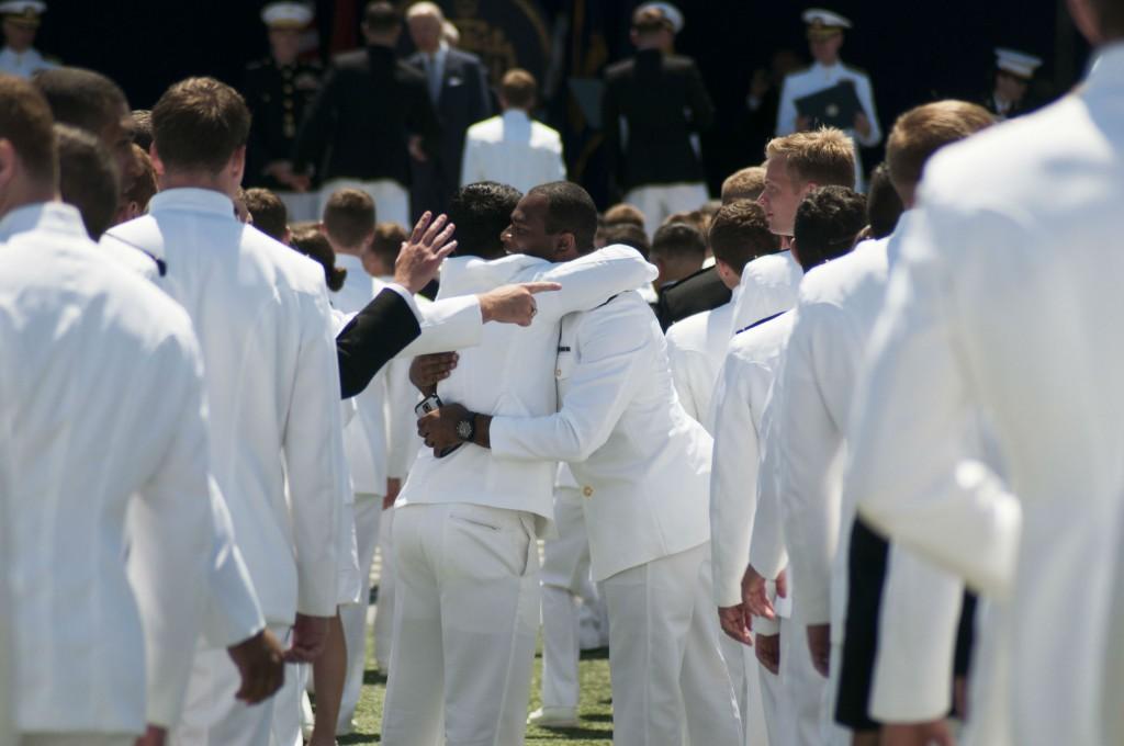 Naval academy hug