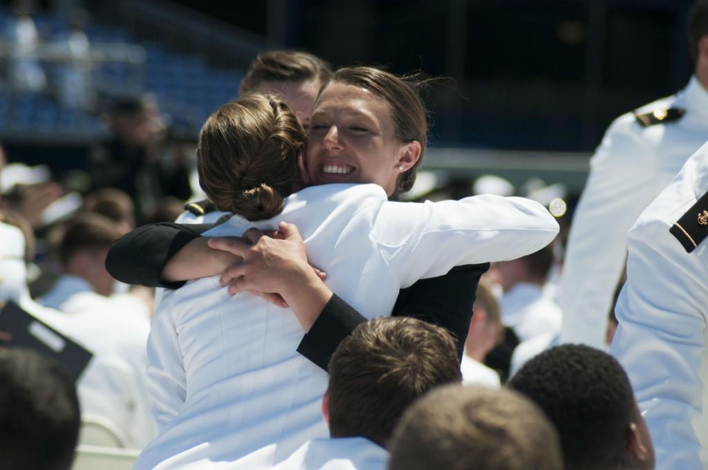 Naval acedmy women hug