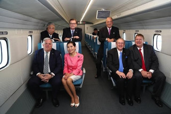 Gov. Larry Hogan and his wife Yumi, far left, seated take a quick ride on the MagLev train in Japan, June 2014. Governor's Office photo