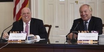 Gov. Larry Hogan and Comptroller Peter Franchot at the Aug. 5 Board of Public Works Meeting. Photo by the Governor's Office.