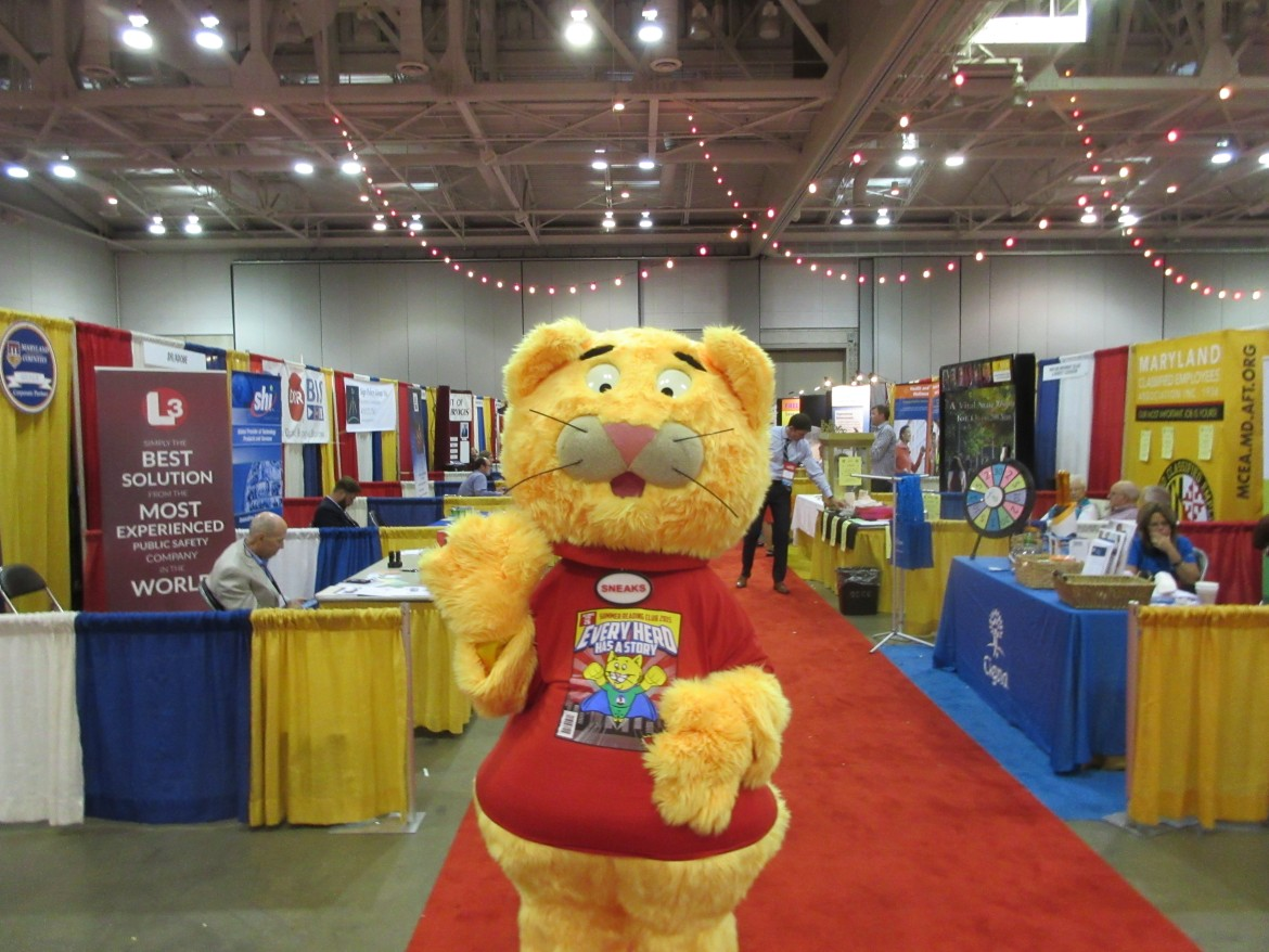 Sneaks, mascot from the Maryland Library Associatio, from its booth in the exhibit hall of the Ocean City Convention Center.