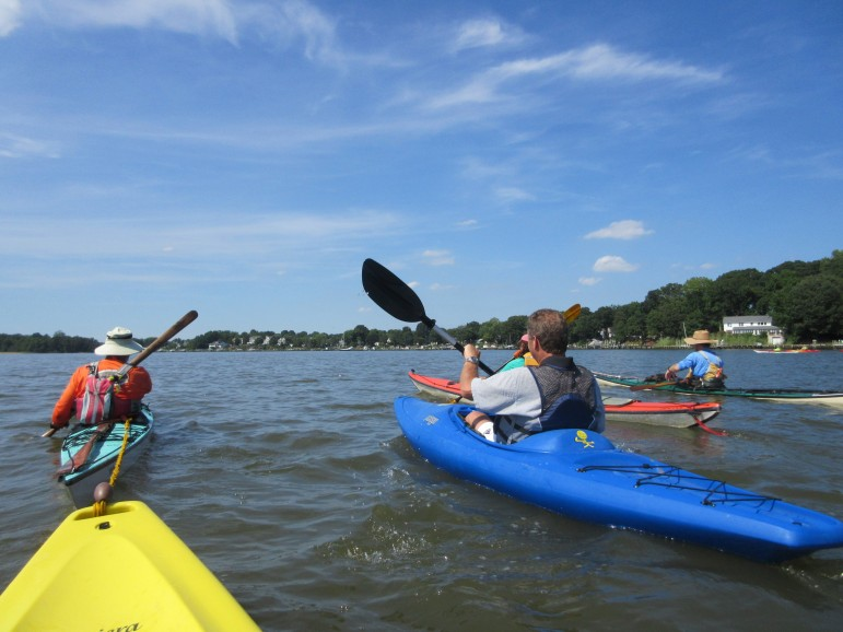 Anne Arundel County Executive Steve Schuh, right, and other county officials took to kayaks Friday afternoon. They paddled three miles from the Beverly Triton Beach Park on the Chesapeake Bay to a boat ramp on the Rhode River to illustrate Schuh's plans for increasing public access to the bay and its rivers. Anne Arundel has 530 miles of coastline, the most of any county, but only one public boat ramp for 14,000 trailered boats registered in the county. Schuh put $592,000 in his budget to plan and develop eight new free public boat ramps in the county.  Veteran kayak Ralph Heimlich, left, using a Greenland wooden paddle, towed Maryland Reporter the last half of the 90-minute trip.