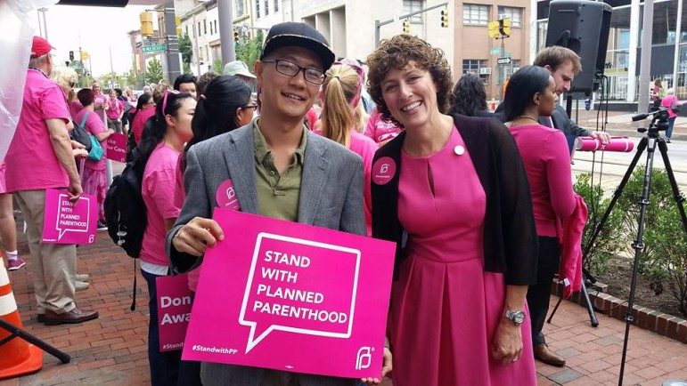 Dels. David Moon, Montgomery, and Shelly Hettleman, Baltimore County, were among the Democratic legislators supporting Planned Parenthood at a Baltimore rally Tuesday. Photo from Moon's Facebook page.
