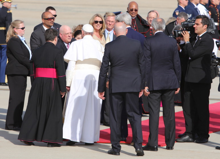 Gov. Larry Hogan and wife Yumi send off Pope Francis as he departs for New York from Joint Base Andrews in Prince George's County. Photo by Governor's Office.