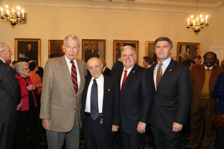 On Larry Hogan inauguration Day Jan. 22, he posed with former governors. From left, Harry Hughes, Marvin Mandel, Hogan and Bob Ehrlich. Photo by Governor's Office.