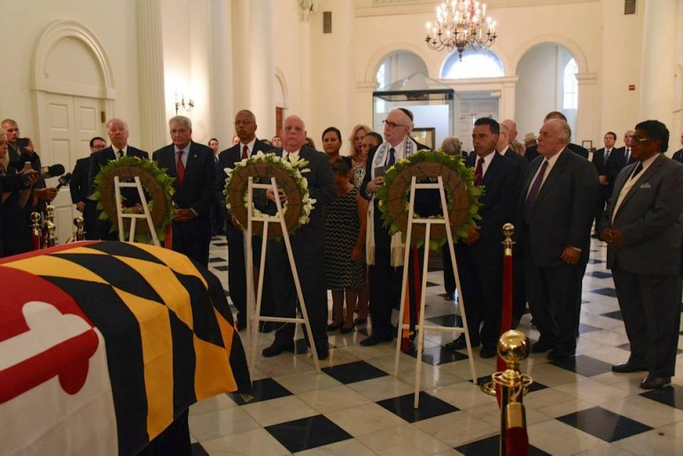 Under the State House dome, Gov. Larry Hogan speaks about late Gov. Marvin Mandel. From Larry Hogan's Facebook page