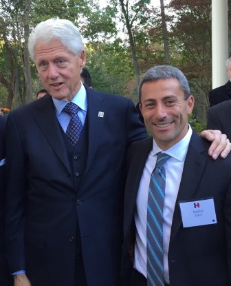 Former President Bill Clinton and Sen. Bobby Zirkin at a fundraiser for Hillary at the home of Senate President Mike Miller. Zirkin recalled heading a 1996 outreach effort for Clinton and his speech at the Democratic Convention that year.
