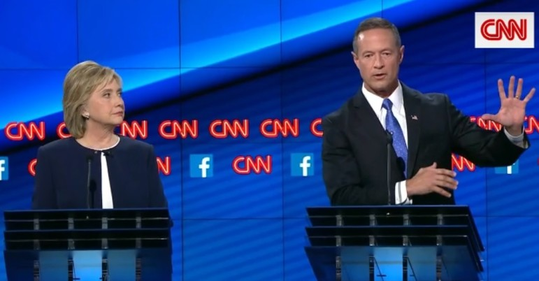 Hillary Clinton and Martin O'Malley. Screen shot from CNN coverage