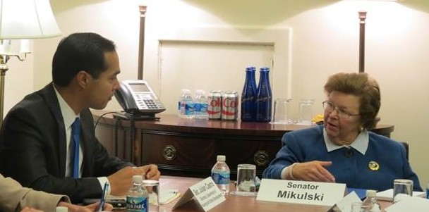 HUD Secretary Julian Castro meets with Sen. Barbara Mikulski in her Capitol office. Photo from Mikulski's office.