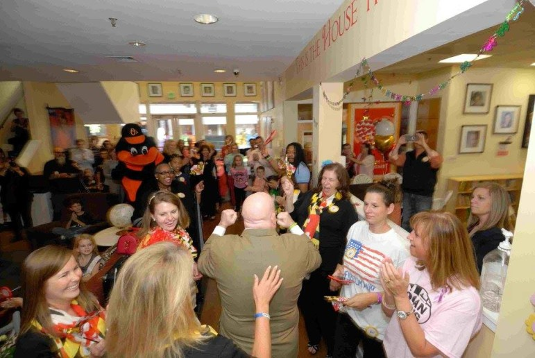 Gov. Hogan at a Ronald McDonald House rally Wednesday. The house is a home away from home for children with serious illnesses. Photo from Hogan's Facebook page.