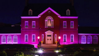 Government House was lit up in pink for Breast Cancer Awareness Month. Photo from WMDT-TV.