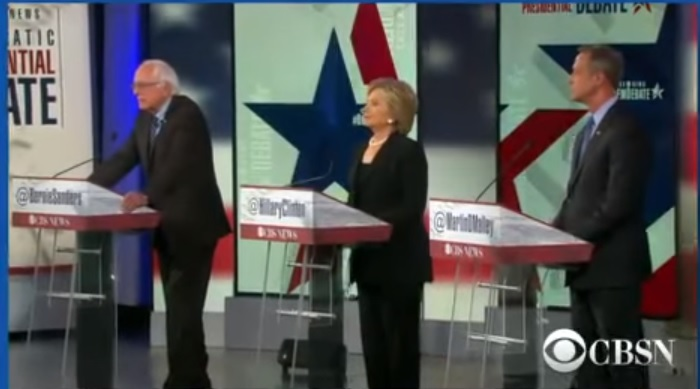Bernie Sanders, Hillary Clinton and Martin O'Malley debate on CBS Nov. 14. Screen capture