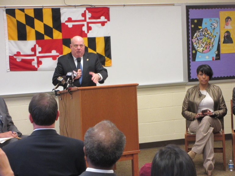 Gov. Larry Hogan announces new P-TECH program with Mayor Stephanie Rawlings-Blake who congratulated him on his successful cancer treatment.