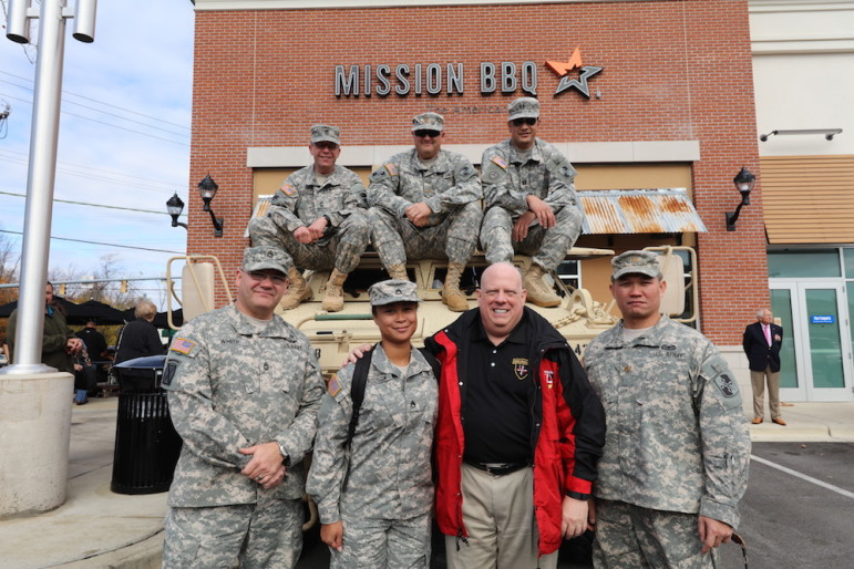Gov. Larry Hogan at with veterans and current military at Mission BBQ in Annapolis on Veterans Day.