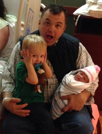 Senate Minority Leader J.B. Jennings and son J.W. welcome daughter Katherine Elizabeth into the world.