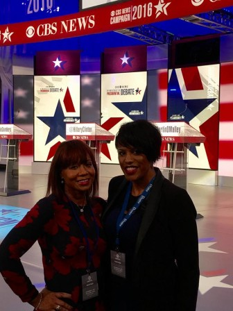 Lobbyist Lisa Harris Jones, left, and Mayor Stephanie Rawlings-Blake attended the Iowa debate according to Harris Jones' Facebook page.